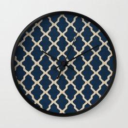 V3 Dark Blue Traditional Moroccan Pattern Texture. Wall Clock