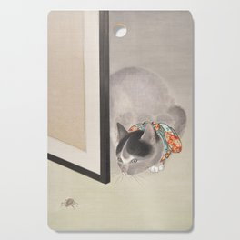 Cat Watching a Spider Japanese Painting Cutting Board