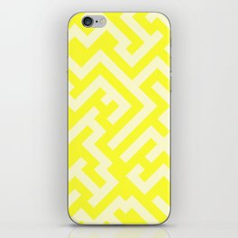 Cream Yellow and Electric Yellow Diagonal Labyrinth iPhone Skin