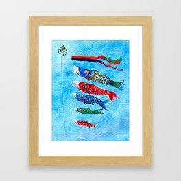 Watercolor Japanese Koi Fish Kite Framed Art Print
