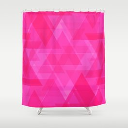 Bright pink triangles in intersection and overlay. Shower Curtain