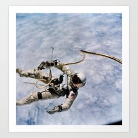 spaceman Art Prints featuring SPACEMAN by Planet Prints