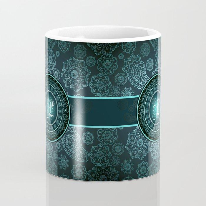 Monogrammed Aridi L Teal Coffee Mug