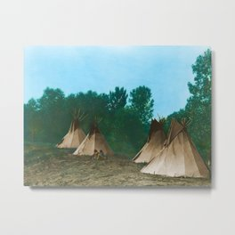 Assiniboine Camp - American Indian Tipis Metal Print