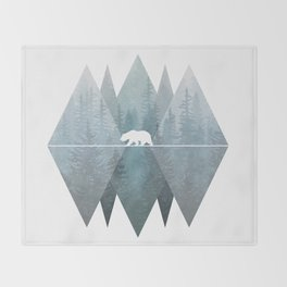 Misty Forest Mountain Bear Throw Blanket