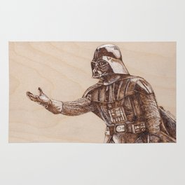 Darth Vader Portrait - Drawing by Burning on Wood - Pyrography Rug