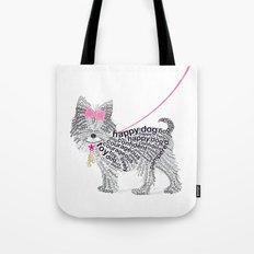 Typographic Yorkshire Terrier - Pink   #YorkshireTerrier #buyart Tote Bag