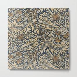 Blue Vintage Floral Pattern Metal Print