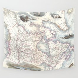Vintage Map of Canada (1849) Wall Tapestry