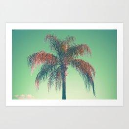 Red palm tree Art Print