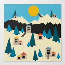 A Sunny Winter Day in the Mountain Village Canvas Print