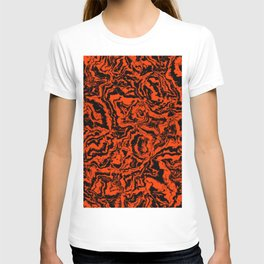 modern scramble, black and red T-shirt