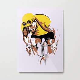 The yellow jersey (retro style cycling) Metal Print