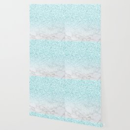 Turquoise Glitter and Marble Wallpaper