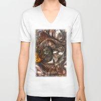 darwin V-neck T-shirts featuring Darwin Meets Orwell by John Hansen