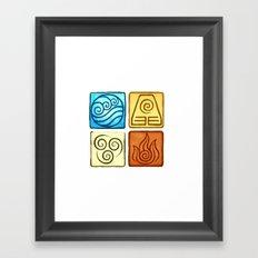 Avatar The Last Air Bender Four Elements Framed Art Print