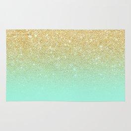 Modern gold ombre mint green block Rug
