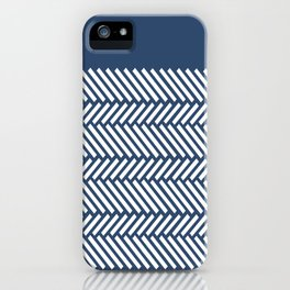 Herringbone Boarder Navy iPhone Case