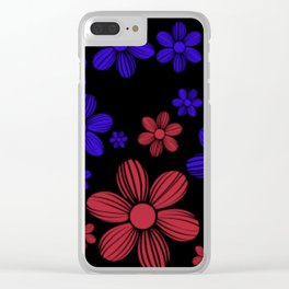 Red and Blue Floral Pattern Clear iPhone Case
