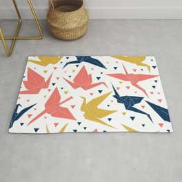 Japanese Origami paper cranes, symbol of happiness, luck and longevity, blue coral mustard Rug