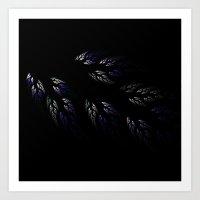 Feathers in Winter Purple Art Print