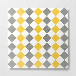 Gray and yellow square pattern Metal Print
