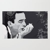 johnny cash Area & Throw Rugs featuring Johnny Cash by Iany Trisuzzi