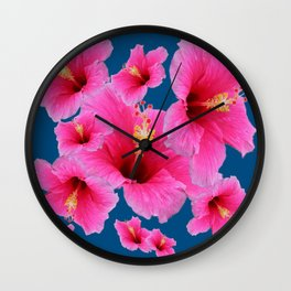 TEAL MODERN ART GIRLY PINK HIBISCUS Wall Clock
