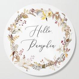 Hello Pumpkin Wreath Cutting Board