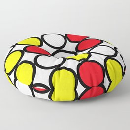 Abstract circle pattern grid with red and yellow colours Floor Pillow