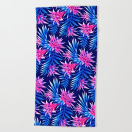Aechmea Fasciata - Mid Blue/Pink Beach Towel