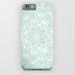 Mandala, Yoga, Love, Flower of Life, Teal Green iPhone Case