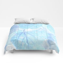 Blue autumn leaves Comforters