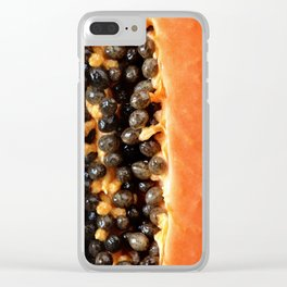 Papaya fruit halved macro Clear iPhone Case