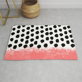 Lola - painted dot minimal coral black and white trendy abstract home decor Rug