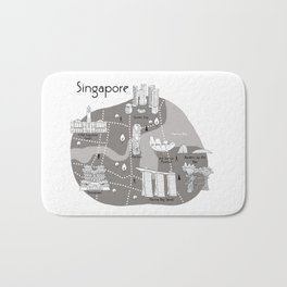Mapping Singapore - Grey Bath Mat