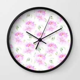 Hand painted pink lavender green watercolor floral Wall Clock