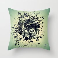 monkey Throw Pillows featuring Monkey by WonderfulDreamPicture
