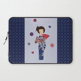 Kokeshi Geisha Japan Blue Laptop Sleeve