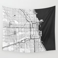 Chicago Map Gray Wall Tapestry