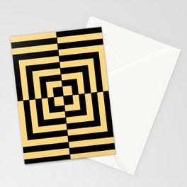 Graphic Geometric Pattern Minimal 2 Tone Illusion Squares (Golden Yellow & Black) Stationery Cards