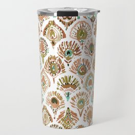PEACOCK MERMAID Rose Gold Mint Scales and Feathers Travel Mug