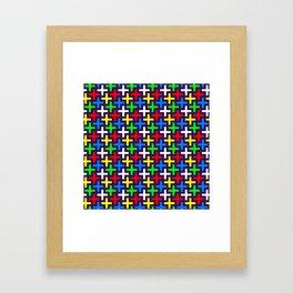 Colorful crosses pattern Framed Art Print