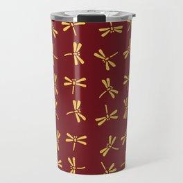 Japanese Dragonflies - Crimson and Gold Travel Mug