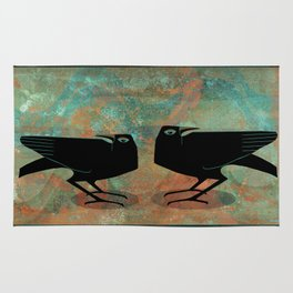 Odin's Ravens Huginn and Muninn Rug