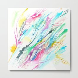 abstract of multicolored lines, plumage, watercolor sketch Metal Print