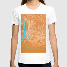 Baton Rouge, LA, USA, Gold, Blue, City, Map T-shirt