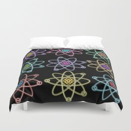 Gold and Silver Atomic Structure Pattern Duvet Cover