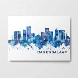 Dar es Salaam Tanzania Skyline Blue Metal Print