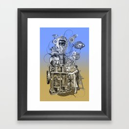 Machine vintage collage Framed Art Print